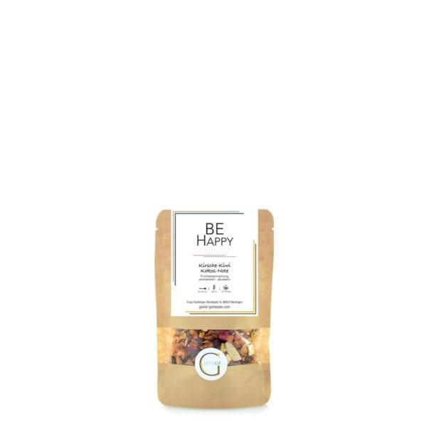 Früchteteemischung mit Kirsch-Kiwi-Kokos-Geschmack, die einfach Happy macht! Kleine Packung