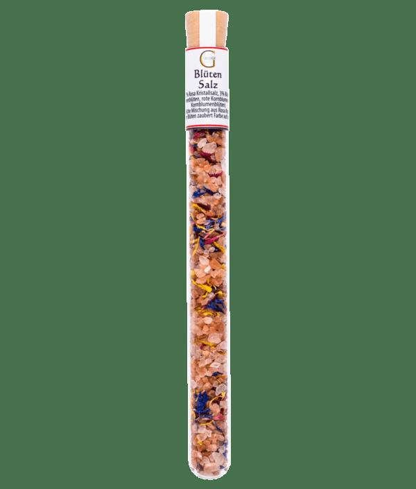 Blütensalz im Reagenzglas mit Korken für ein buntes Topping