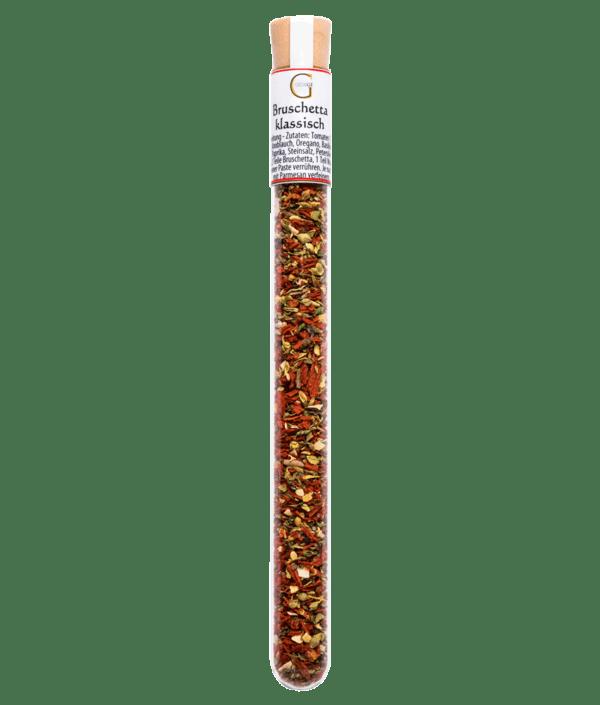 Bruschetta klassisch Gewürz im Reagenzglas mit Korken zum Anrühren als Dip