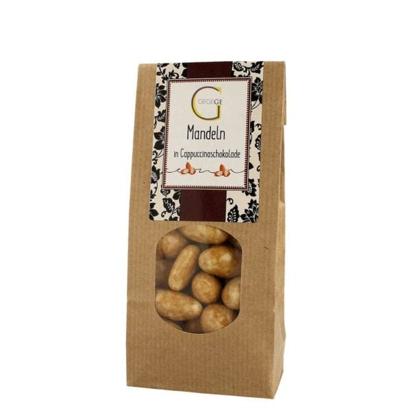 Mandeln in Cappuccinoschokolade: Erlesene Mandeln umhüllt von weißer Schokolade mit bestem Kaffeearoma.