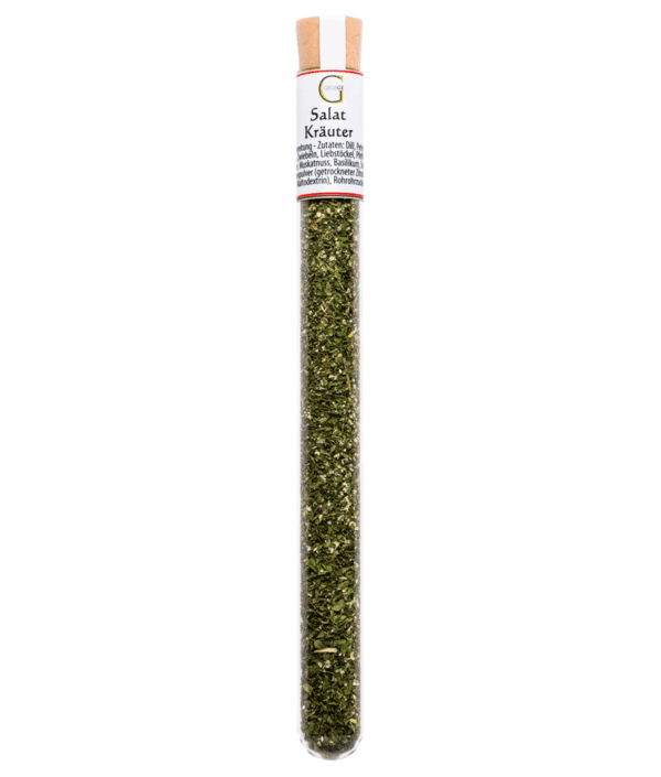 Salatkräuter Gewürz im Reagenzglas mit Korken