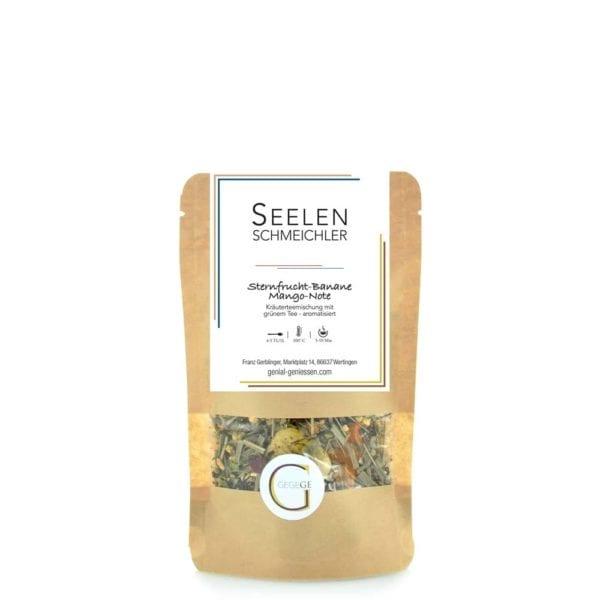 Genial Genießen Seelenschmeichler Tee. Kräutertee mit grünem Tee Sternfrucht-Banane-Mango. Grün, bunt, exotisch! Mittlere Packung.