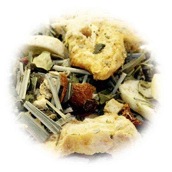 Genial Genießen Seelenschmeichler Tee. Kräutertee mit grünem Tee Sternfrucht-Banane-Mango. Grün, bunt, exotisch! Detailfoto.