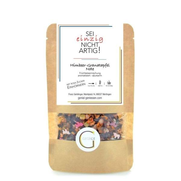 Früchteteemischung mit Himbeer-Granatapfel Note und rosa Zuckereinhörnern - große Packung