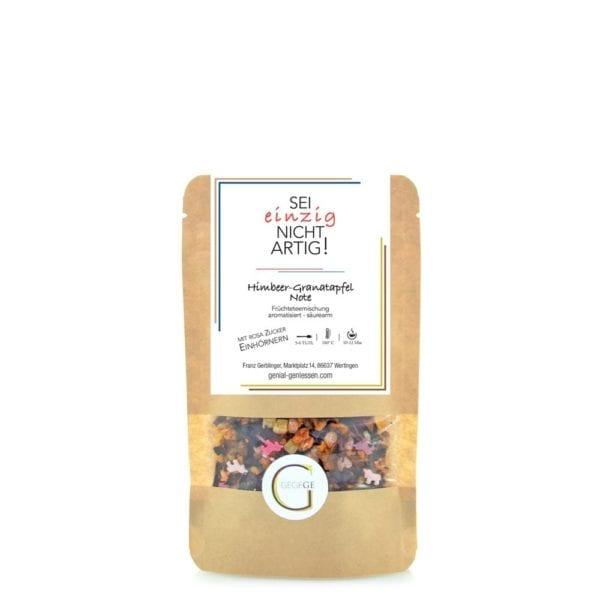 Früchteteemischung mit Himbeer-Granatapfel Note und rosa Zuckereinhörnern - mittlere Packung