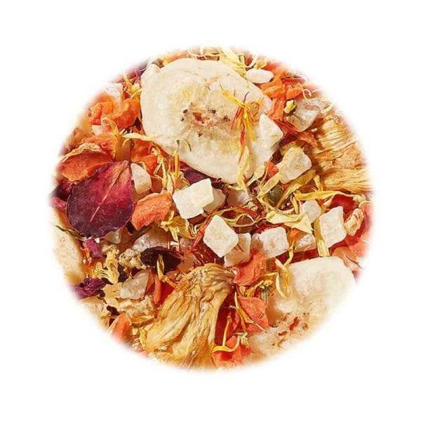 Früchtetee statt Blumenstrauß! Ananas und Bananen gebetet in bunten Blüten, Genial Genießen Statt Blumen Tee, Detailaufnahme