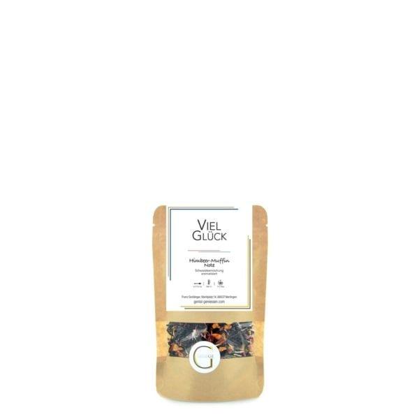 Schwarztee mit Himbeer-Muffin Geschmack und weichen, süßen, kuchigen Noten, Genial Genießen Viel Glück Tee, kleine Packung