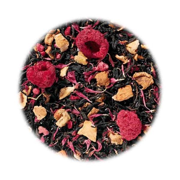 Schwarztee mit Himbeer-Muffin Geschmack und weichen, süßen, kuchigen Noten, Genial Genießen Viel Glück Tee, Detailaufnahme