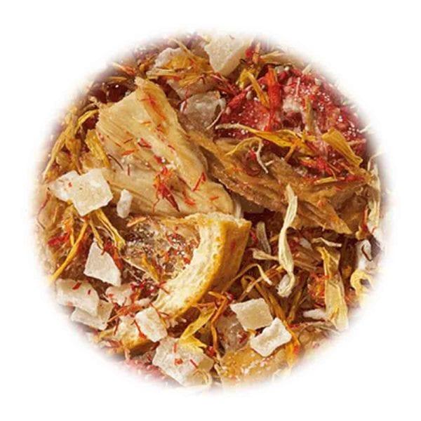 Genial Genießen - Zeit für dich Tee. Ein Früchtetee der Extraklasse einfach nur für DICH! Mit extra-großen Mango-Fruchtstücken. Detailfoto.