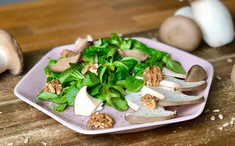 Frischer Walnuss-Pilz Salat - Nahaufnahme