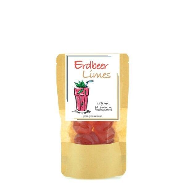 Genial Genießen alkoholische Fruchtgummis mit dem Geschmack nach Erdbeer Limes - große Verpackung
