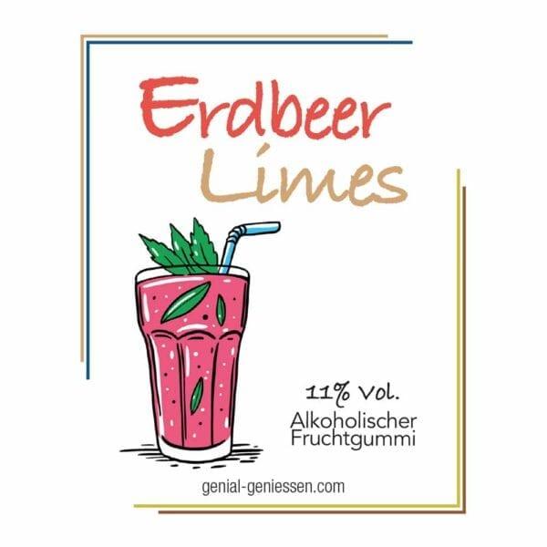Genial Genießen alkoholische Fruchtgummis mit dem Geschmack nach Erdbeer Limes - im Cocktailglas
