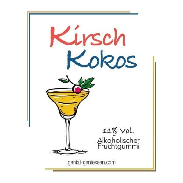 Genial Genießen alkoholische Fruchtgummis mit dem Geschmack nach Kirsch-Kokos - im Cocktailglas
